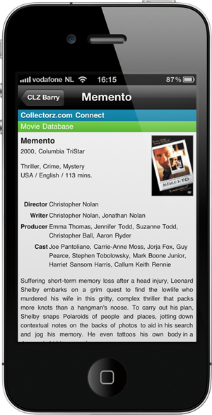 Details page, showing item information from Collectorz.com Connect